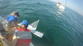 Deploying the manta trawl